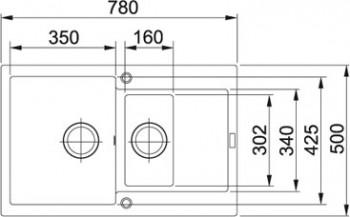 Franke Granitspüle Maris MRG 651-78 reversibel Onyx 1140253333