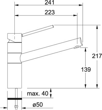 Franke Armatur 340 Fesrauslauf Chrom/Onyx 1150175787