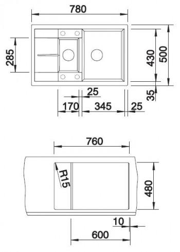 Blanco Blancometra 6 S Compact Silgranit alumetallic 513553