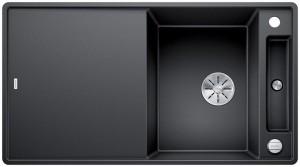 Blanco Granitspüle aus SILGRANIT® PuraDur®  AXIA III 5 S-F reversibel anthrazit 523231 + Glasschneidbrett weiß 234045