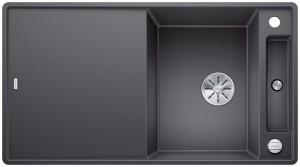 Blanco Granitspüle aus SILGRANIT® PuraDur®  AXIA III 5 S-F reversibel  felsgrau 523232 + Glasschneidbrett weiß 234045