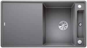 Blanco Granitspüle aus SILGRANIT® PuraDur®  AXIA III 5 S-F reversibel alumetallic 523233 + Glasschneidbrett weiß 234045