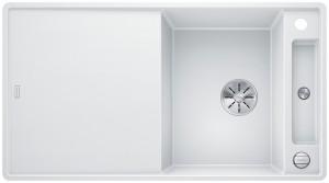 Blanco Granitspüle aus SILGRANIT® PuraDur®  AXIA III 5 S-F reversibel weiß 523234 + Glasschneidbrett weiß 234045