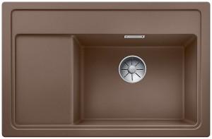 Blanco Granitspüle aus SILGRANIT® PuraDur® ZENAR XL 6 S Compact Becken rechts muskat 523772 +  mit Esche-Compound-Schneidbrett